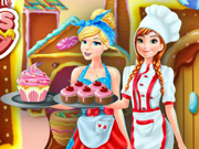 Anna and Cinderella at the Cupcake Factory