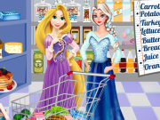 Elsa and Rapunzel Food Shopping
