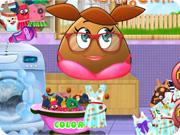 Pou Girl Washing Clothes
