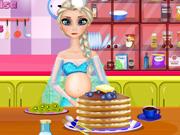 Pregnant Elsa Cooking Pancakes